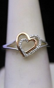 Gorgeous 14kt Over Silver Double Heart Shape Ring With