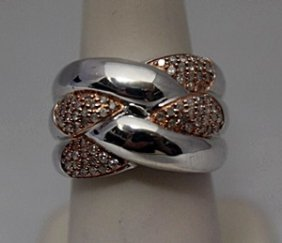 Beautiful 14kt Rose Gold Over Silver White Diamonds