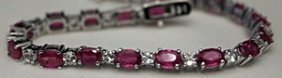 Beautiful Silver Bracelet With Rubies & White Sapphires