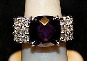 Gorgeous Amethyst & White Topaz SS Ring. (555L)