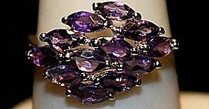Gorgeous Purple Lab Sapphires Sterling Silver Ring.