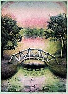 "Pencil Signed Serigraph, Entitled: ""Foot Bridge"""