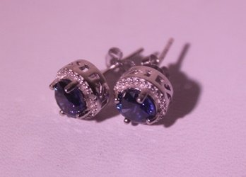 Exquisite Sterling Silver Earrings with Lab Blue