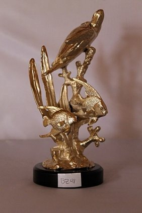 Sea Turtle With Angel Fish - Gold Over Bronze Sculpture