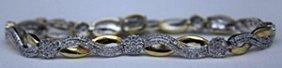 Lady's Fancy 14kt Over Silver Bracelet With Diamonds