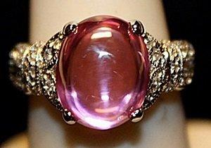 Gorgeous Pink Lav Sapphire & White Topaz SS Ring.
