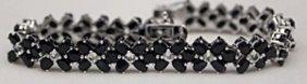 Lady's Fancy Silver Bracelet With Black & White