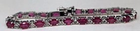 Gorgeous Silver Bracelet With Pigeon Blood Rubies &