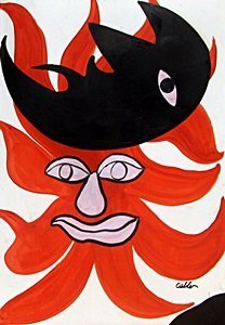 Sun And Moon - Oil On Paper - A. Calder