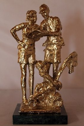 Lost In Fantasy Land - Gold Over Bronze Sculpture -