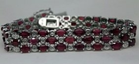 Lady's Fancy Silver Bracelet With Garnets & Diamonds