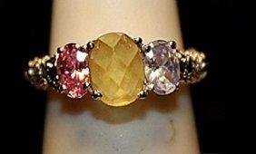 Fancy Pink Sapphire, Kunzite, Citrine & White Topaz Ss