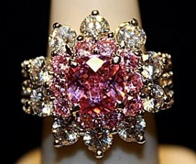 Beautiful Lab Sapphires & White Sapphires Ss Ring.