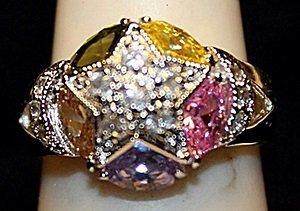 Beautiful Multi Colored Gemstones SS Ring. (521L)