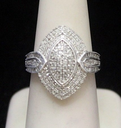 Lady's Fancy Silver Ring with Cluster Diamonds (170I)