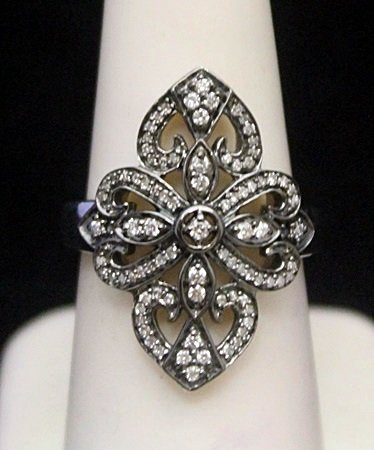 Fancy Silver Antique Style Ring with Black & White