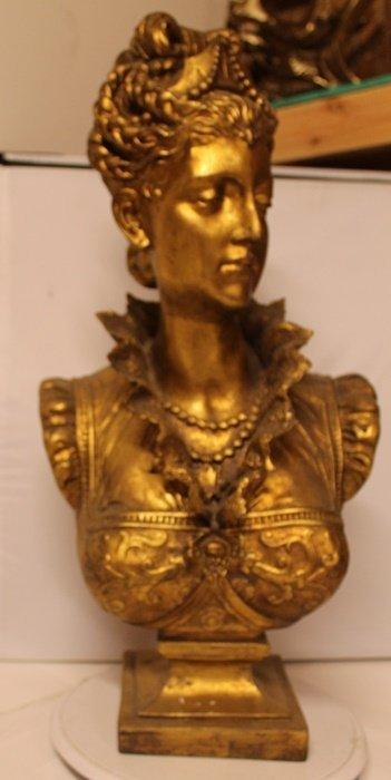 Large Women Bust - Old World Antique Bisque Sculpture