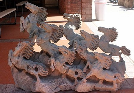 Grazing Horses - Large Jade Sculpture