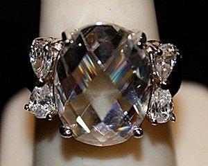Gorgeous White Spinel & Topaz SS Ring. (567L)