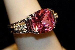 Beautiful Pink Sapphire & White Topaz SS Ring. (767L)
