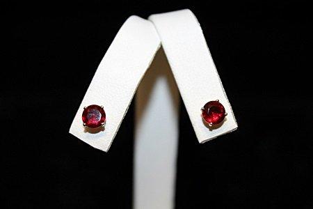 Gorgeous Red Gemstone Silver Stud Earrings (45E)