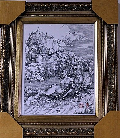 Framed Albrecht Dürer-The Sea Monster Engraving