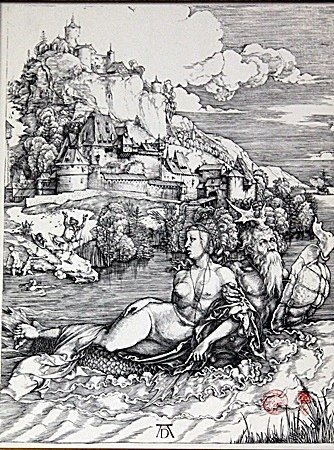 Framed Albrecht Dürer-The Sea Monster Engraving - 2