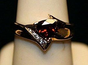 Gorgeous Rose Garnet Gold over Silver Ring. (737L)