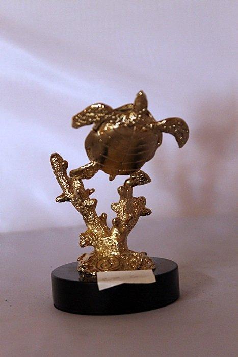 Sea Turtle - Gold over Bronze Sculpture after SPI - 2