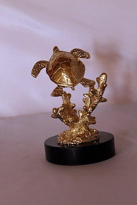 Sea Turtle - Gold over Bronze Sculpture after SPI - 3