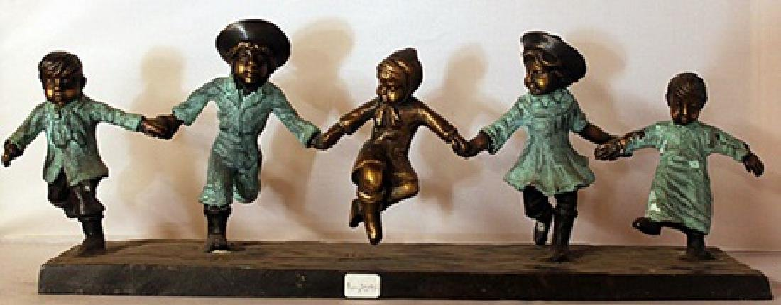 Children at Play - Patina Bronze Sculpture