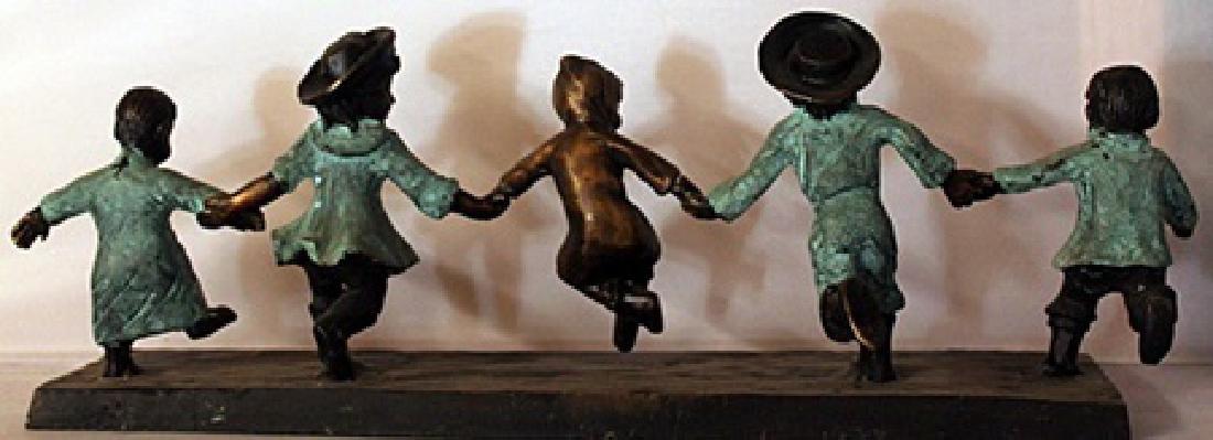 Children at Play - Patina Bronze Sculpture - 3