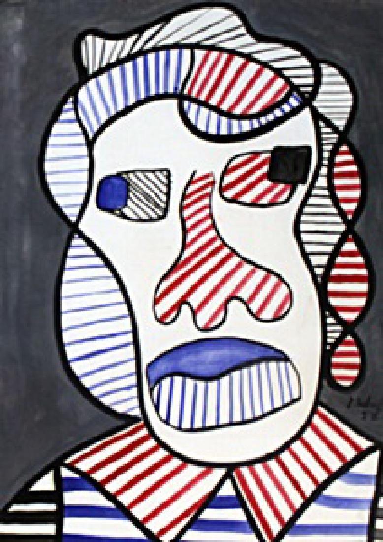 Woman Head - Oil on Paper - Jean DuBuffet