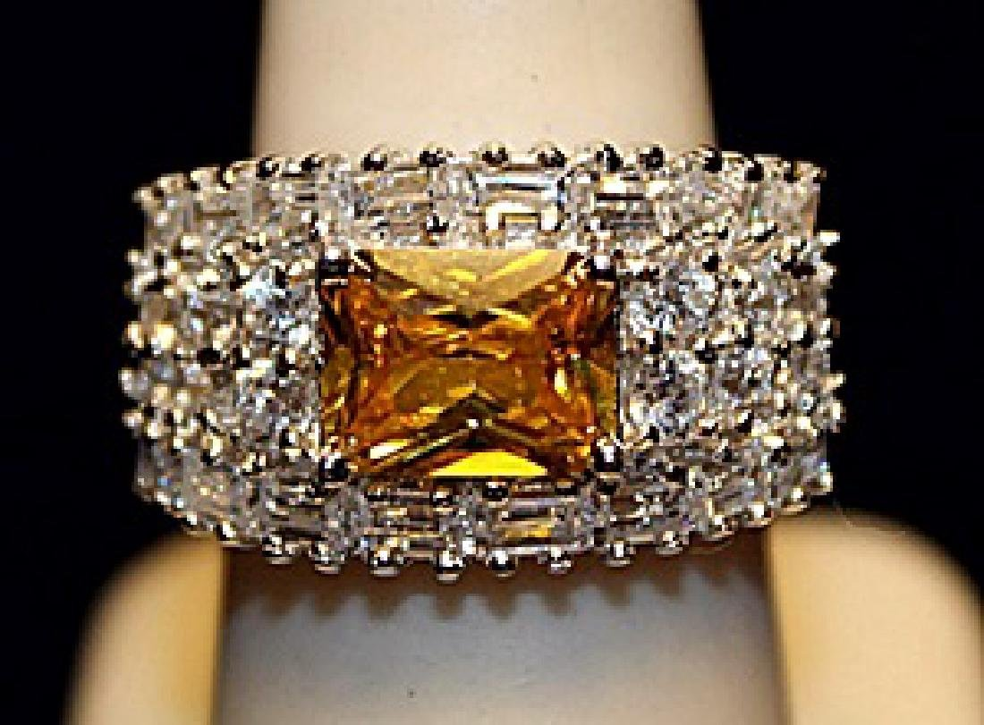 Fancy Golden Lab Sapphire & White Topaz SS  Ring.