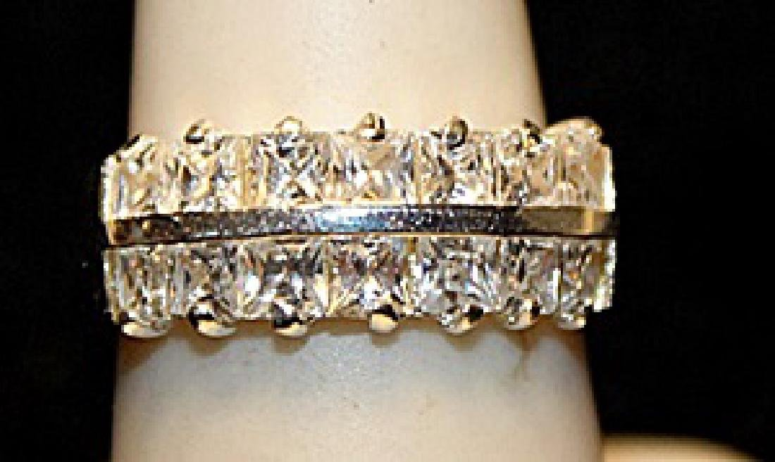 Fancy White Cercon Zirconia SS Ring. (768L)