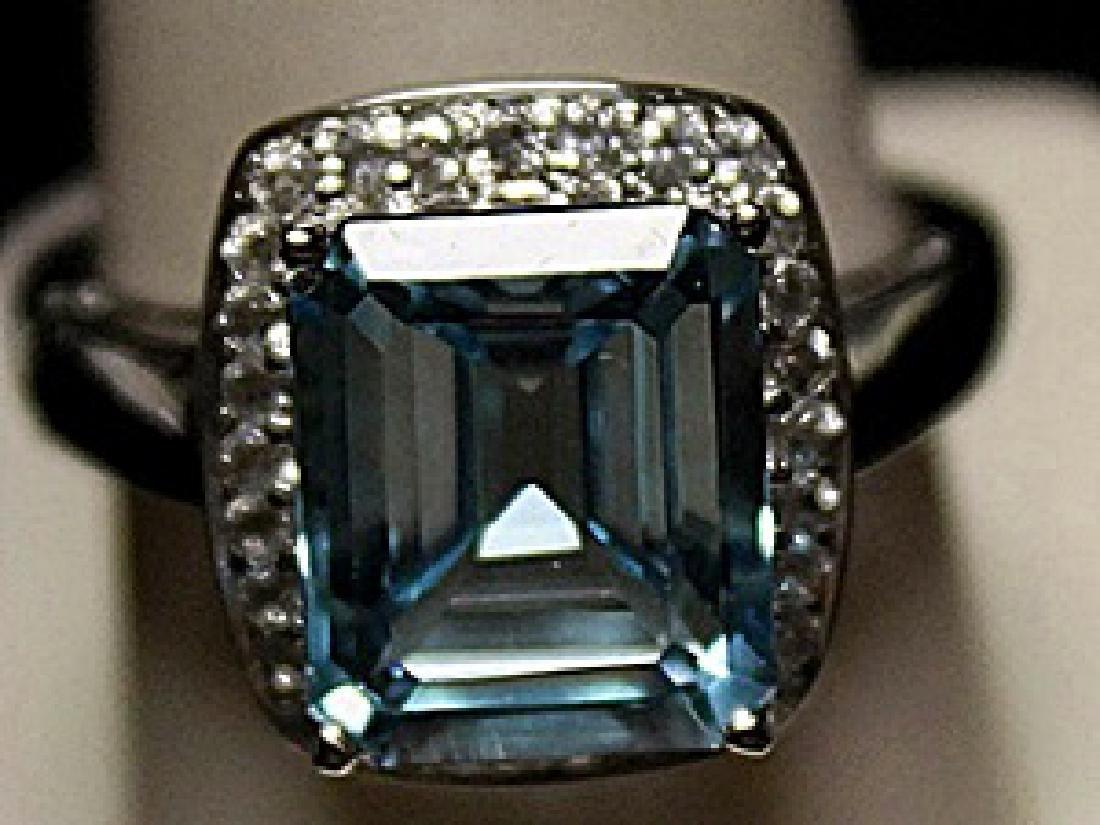 Gorgeous Lab Aquamarine Sterling Silver Ring. (213L)