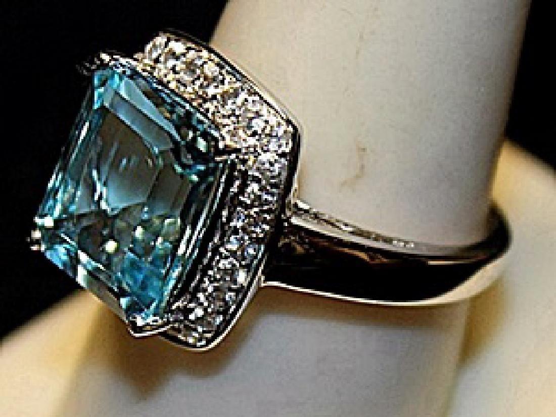 Gorgeous Lab Aquamarine Sterling Silver Ring. (213L) - 2