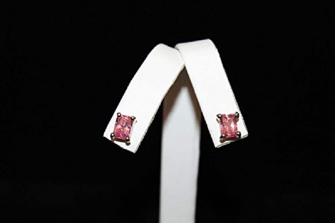 Lady's Fancy Pink Gemstone Silver Stud Earrings (51E)
