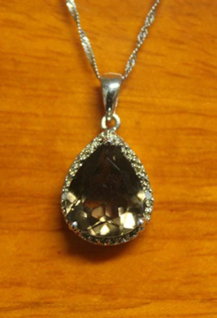 Beautiful Pendant with Smoky Quartz and Diamond