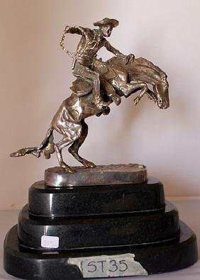 Bronco Buster - .999 Silver Sculpture - Old Cast