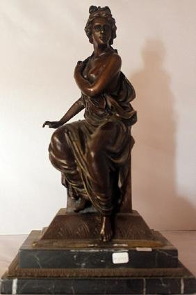 Seated Woman - Bronze Sculpture - Signed Girl