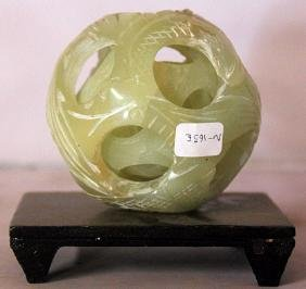 Chinese Intricate Jade Devils Puzzle Ball on Stand
