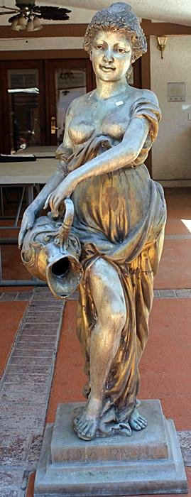 Large Two Tone Bronze Sculpture - Woman with Vase