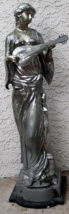 Woman with Guitar - Silver over Bronze Sculpture