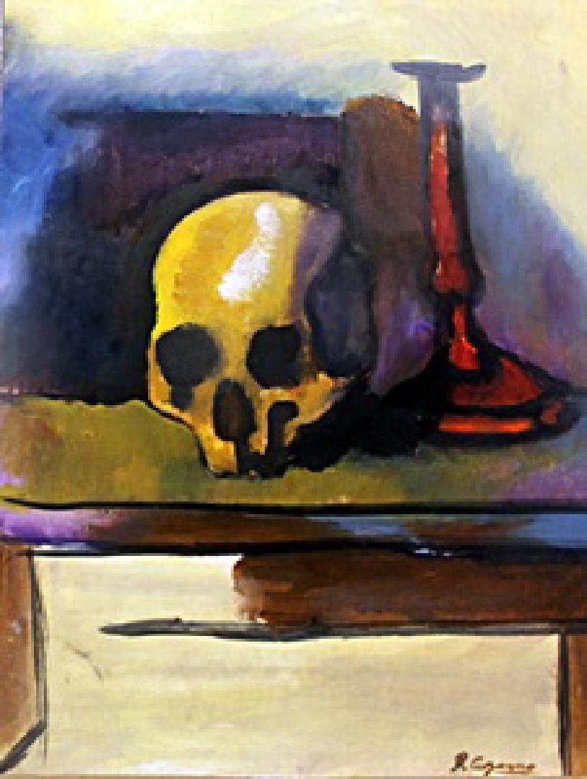 Skull on the Table - Paul Cezanne