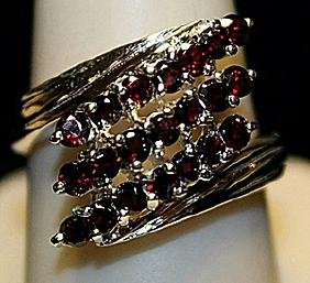Fancy Pigeon Blood Rubies Sterling Silver Ring. (171L)