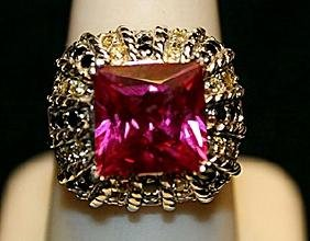 Gorgeous Lab Ruby Sterling Silver Ring. (741L)