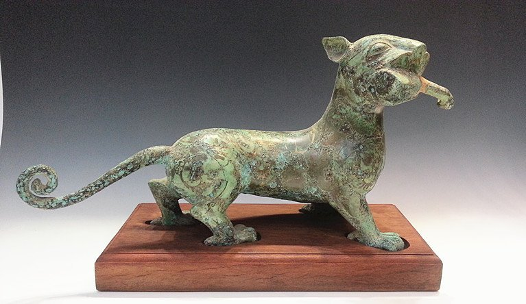CHINESE GILT BRONZE BOBCAT WITH WOODEN STAND