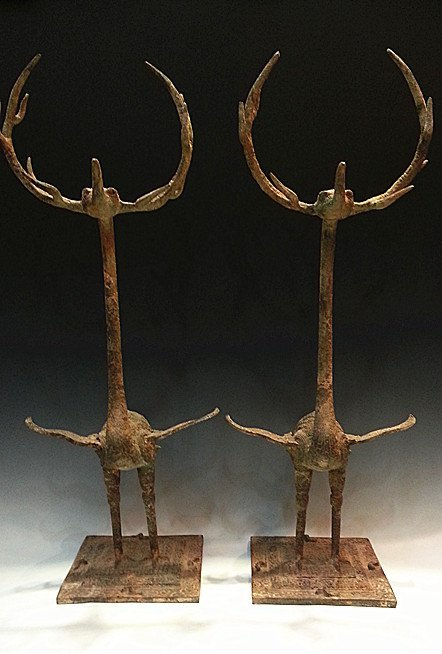 PAIR OF CHINESE BRONZE CRANES WITH DEER ANTLERS