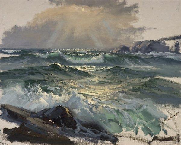 21: Signed Charles Vickery ' Lake Sunrise'